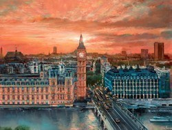 Sunset Over the Thames by Ziv Cooper -  sized 40x30 inches. Available from Whitewall Galleries